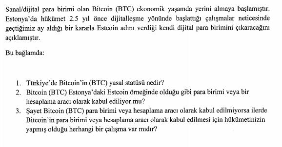 TBMM'de Bitcoin Hakkında İlk Yazılı Soru Önergesi