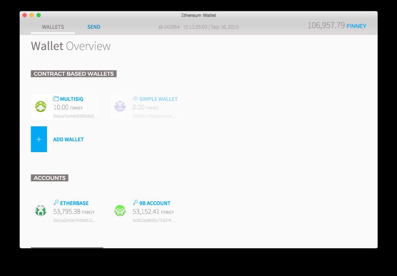 Mist kullanarak Ethereum için cüzdan oluşturabilirsiniz.